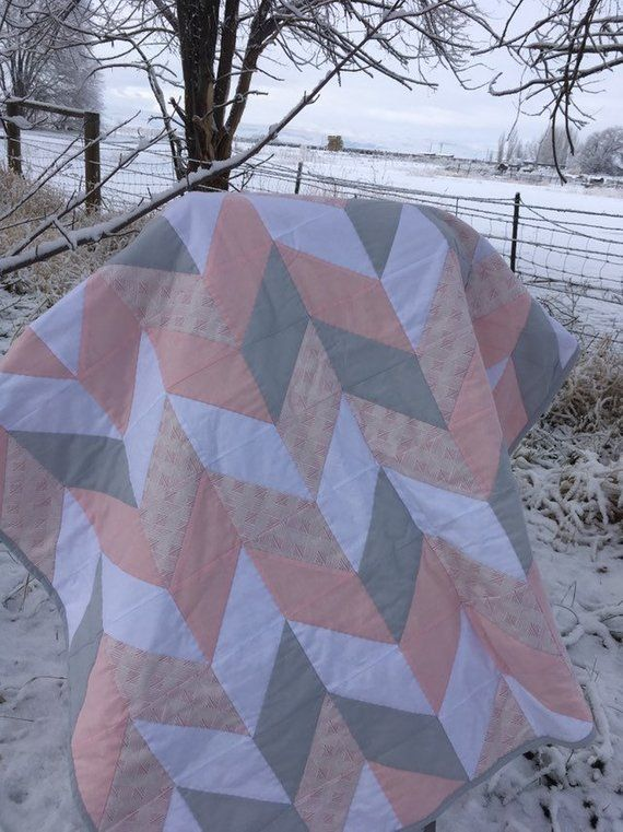 Photo of Quilt Pink Gray and white Herringbone baby girl quilt for Nursery hand quilted
