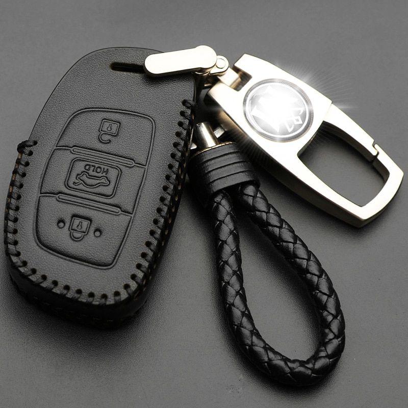 Genuine Leather Car Key Case For Hyundai I10 I20 I30 Hb20 Ix25
