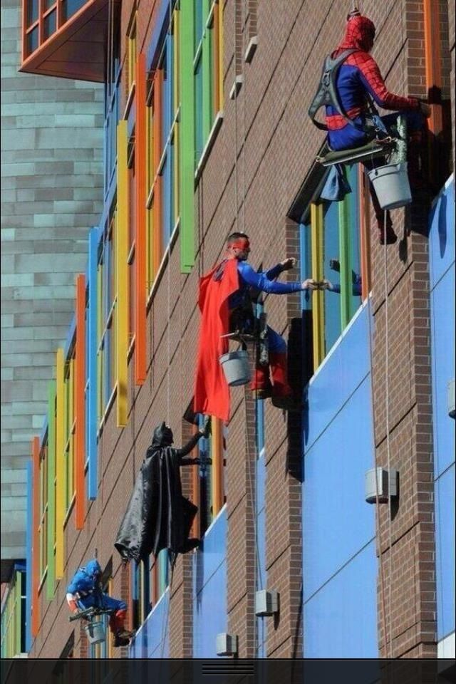 Window washers at the Children's Hospital