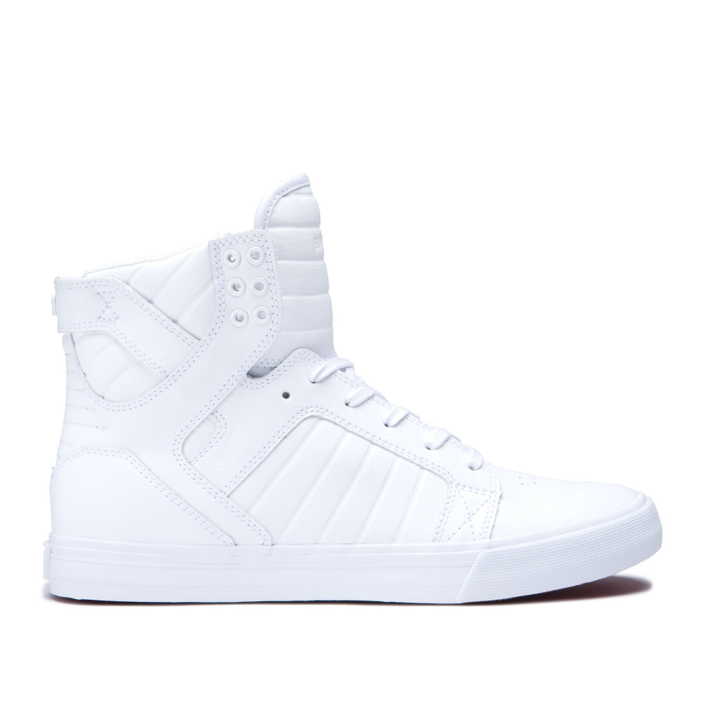 Supra Society II Mens White Canvas High Top Lace Up Sneakers Shoes 11