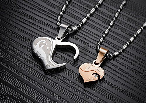 f11e371378 GirlZ! cute Titanium Love Heart Couple matching lockable Pendant Necklace  with chains (2 pieces - Men and Women) - Silver & Rose Gold: Amazon.in:  Jewellery