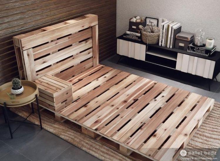 Pin By Havila Mema On Home In 2020 Pallet Furniture Bedroom Wood Pallet Bed Frame Pallet Bed Frame Diy