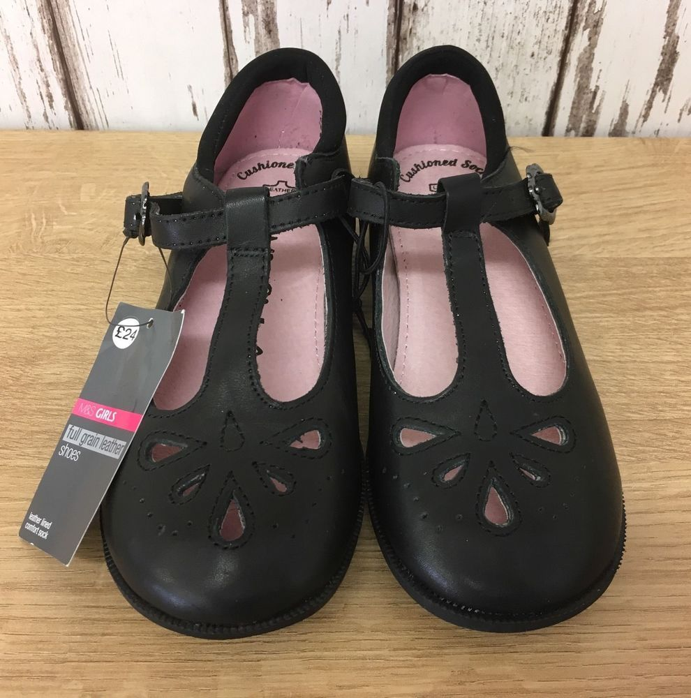M\u0026S Girl's Black Coated Leather Shoes