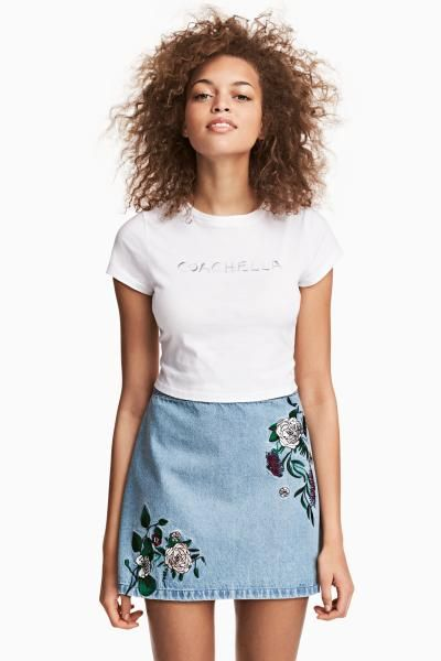 Denim skirt with embroidery - Denim blue/Embroidery - Ladies | H&M GB