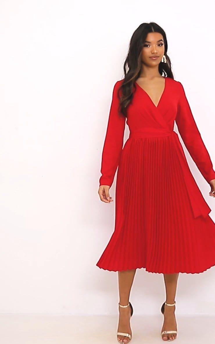 Red Long Sleeve Pleated Midi Dress Long Sleeve Dress Midi Dress Pleated Midi Dress [ 1180 x 740 Pixel ]