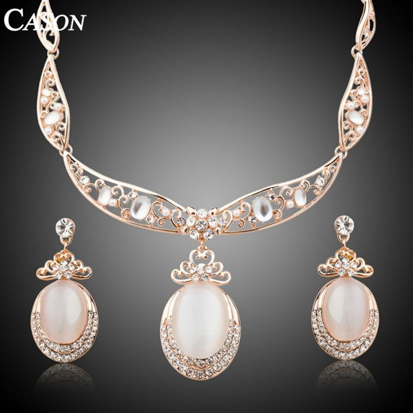 Fashion Austrian Crystal Bridal Jewelry Set Gold Plated Opal Necklace Earrings
