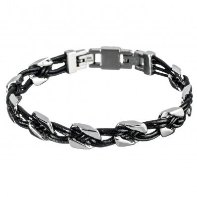 Man Steel And Leather Bracelet Marlu\u0027 , Bracciale Uomo Acciaio e Cuoio Marlù
