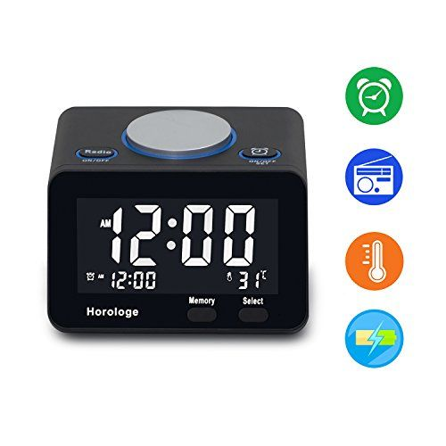 USB Alarm Clock Digital Alarm Clock Radio With USB Charging Port Clock Alarm  FM Radio Thermometer And LCD Screen For Bedroom Kitchen Hotel Table Desk ...