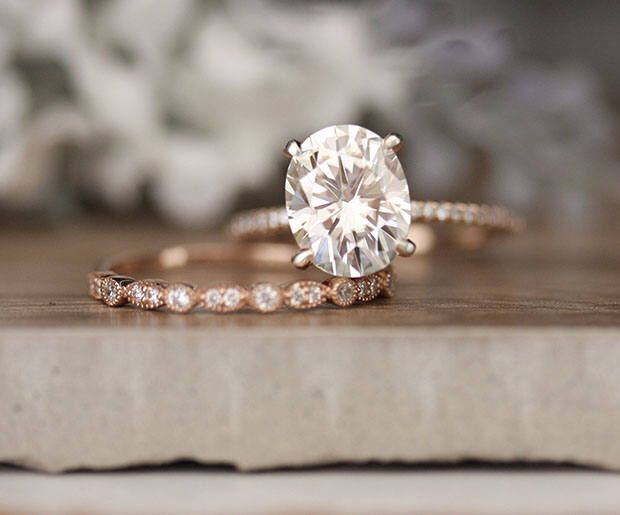 Rose Gold Engagement Ring Moissanite Oval 10x8mm And Diamond Bridal Set Forever Clic