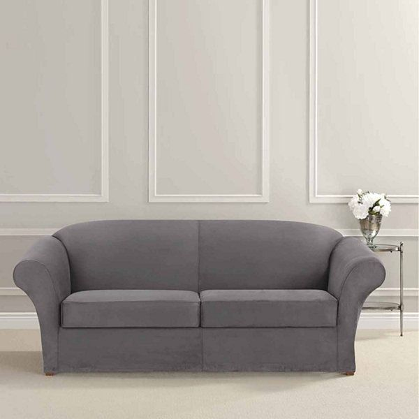Sure Fit Ultimate Heavyweight Stretch Suede Sofa Individual 2 Cushion Slipcover Jcpenney Slipcovered Sofa