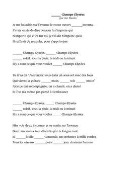 Aux Champs Elysees Cloze Activity Cloze Activity Champs Elysees