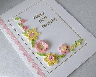 Items similar to Pink Paper Quilling 90th  Birthday Card. Handmade, personalise with name o on Etsy