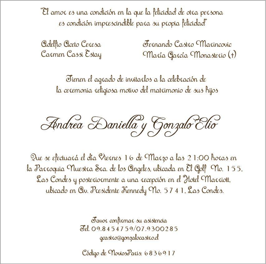 Matrimonio Catolico Pasos : Invitaciones matrimoniales ejemplos texto para los