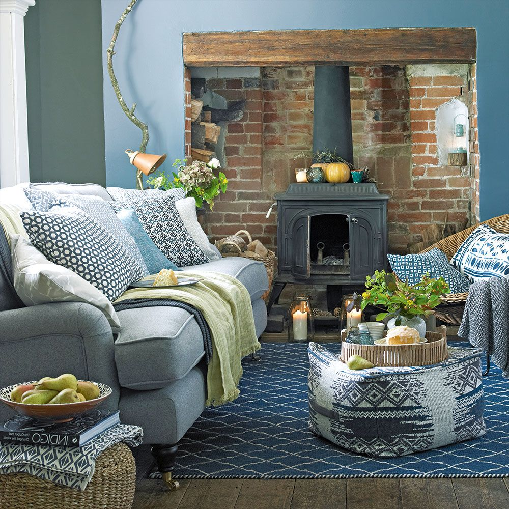 Small Country Living Room Ideas: Country Living Room With Woodburning Stove