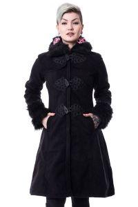 langer schwarzer mantel mit kunstfell kragen frozen coat schwarzer mantel lang schwarz und. Black Bedroom Furniture Sets. Home Design Ideas