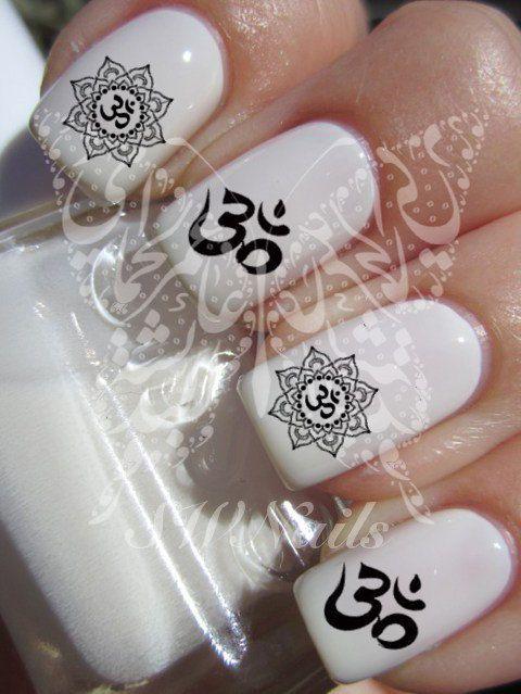 Nail Art Indian Hindu Symbols Om Mantra Sign Lotus Nail Water Decals