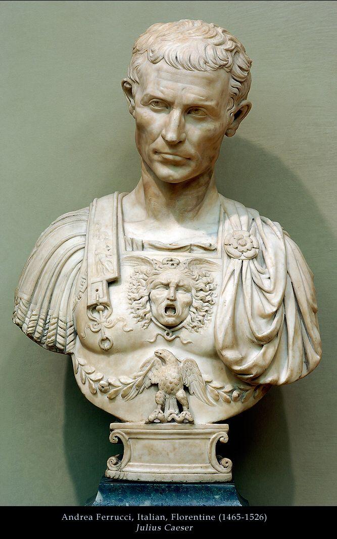 Greco-Roman Veni Vidi Vici General Julius Caesar Home Gallery Bust Sculpture