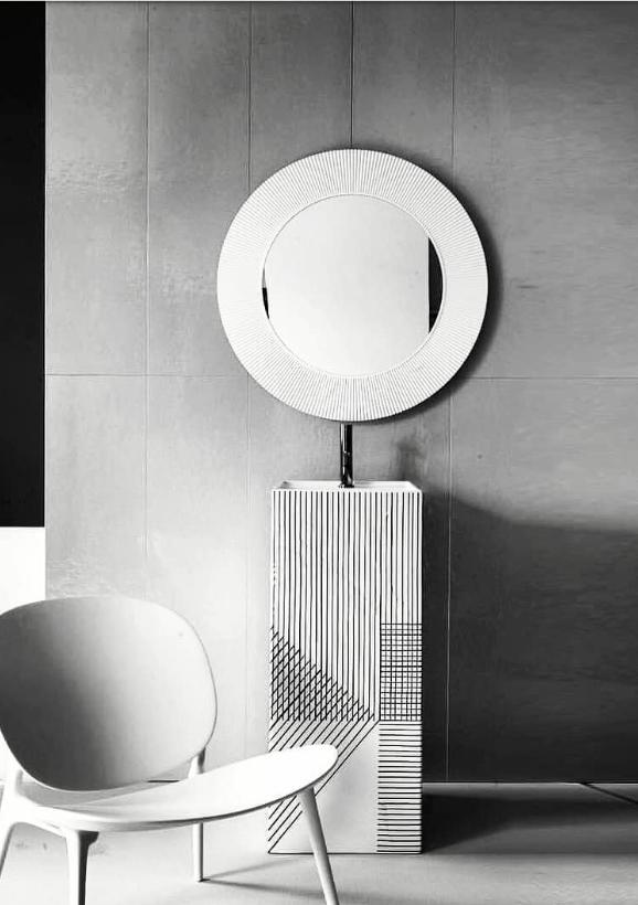 Vasque Palombe Lavabo Totem En Céramique Graphique Miroir Soleil