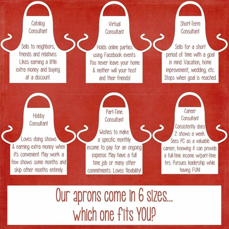 Pampered chef aprons come in 6 sizes you pick which you