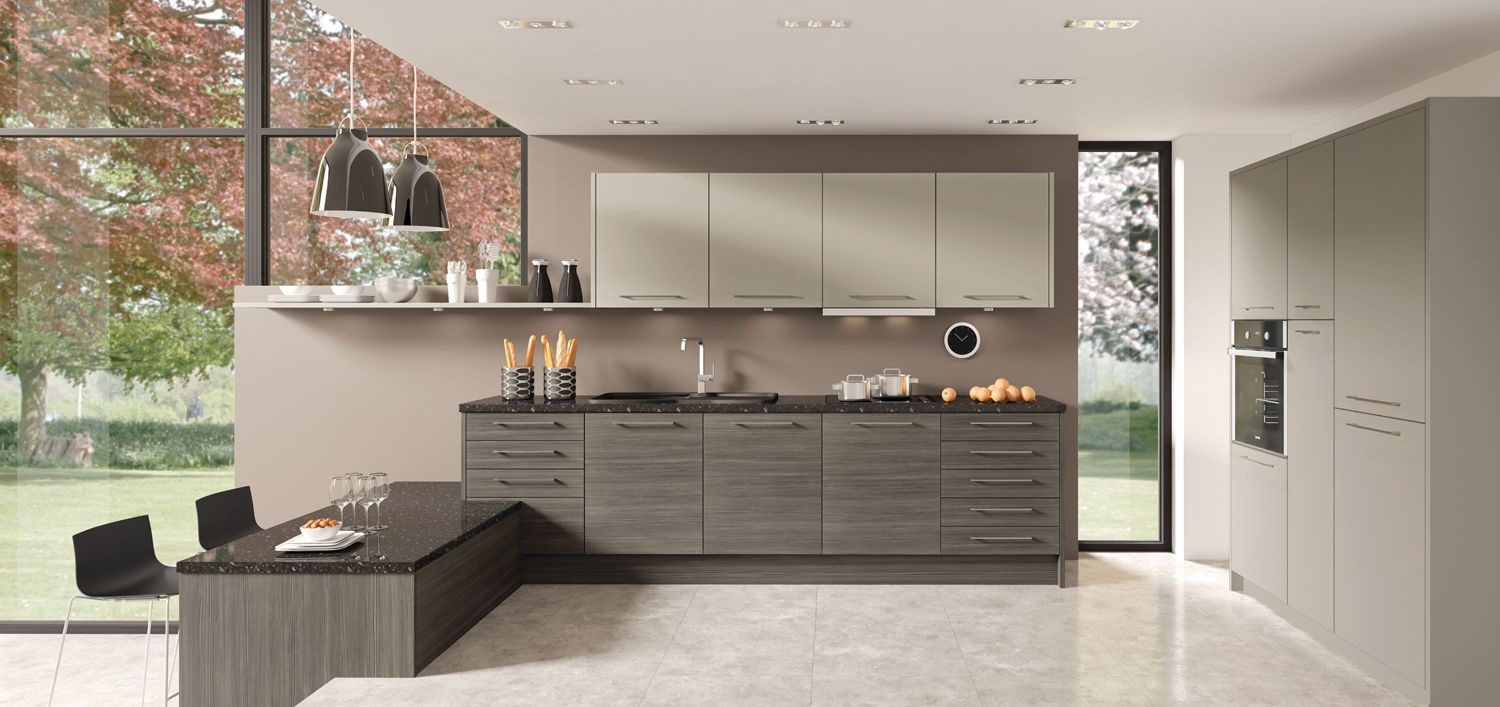 Best Avola Grey Brown Kitchen Design Gallery Small Kitchen 400 x 300