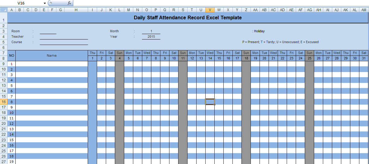 Daily Staff Attendance Record Excel Template | Microsoft Office ...