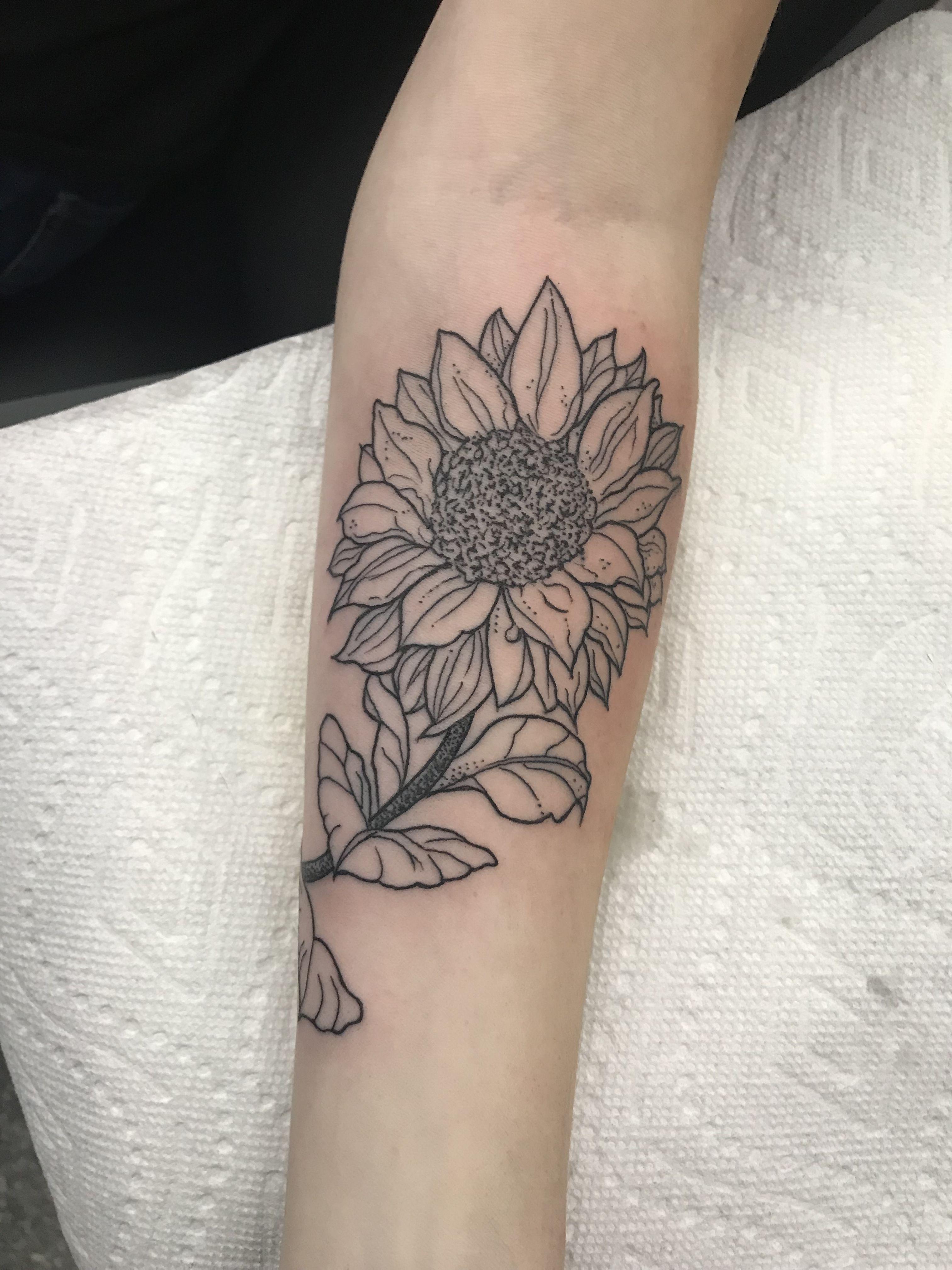 Sunflower Outline minimalist black ink lady tattoo