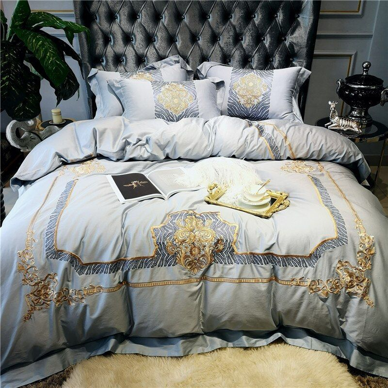 New Luxury Gray 80s Egyptian Cotton Gold Royal Embroidery Palace Bedding Set Duvet Cover Bed Sheet Be Duvet Bedding Sets Cotton Bedding Sets Cheap Bedding Sets