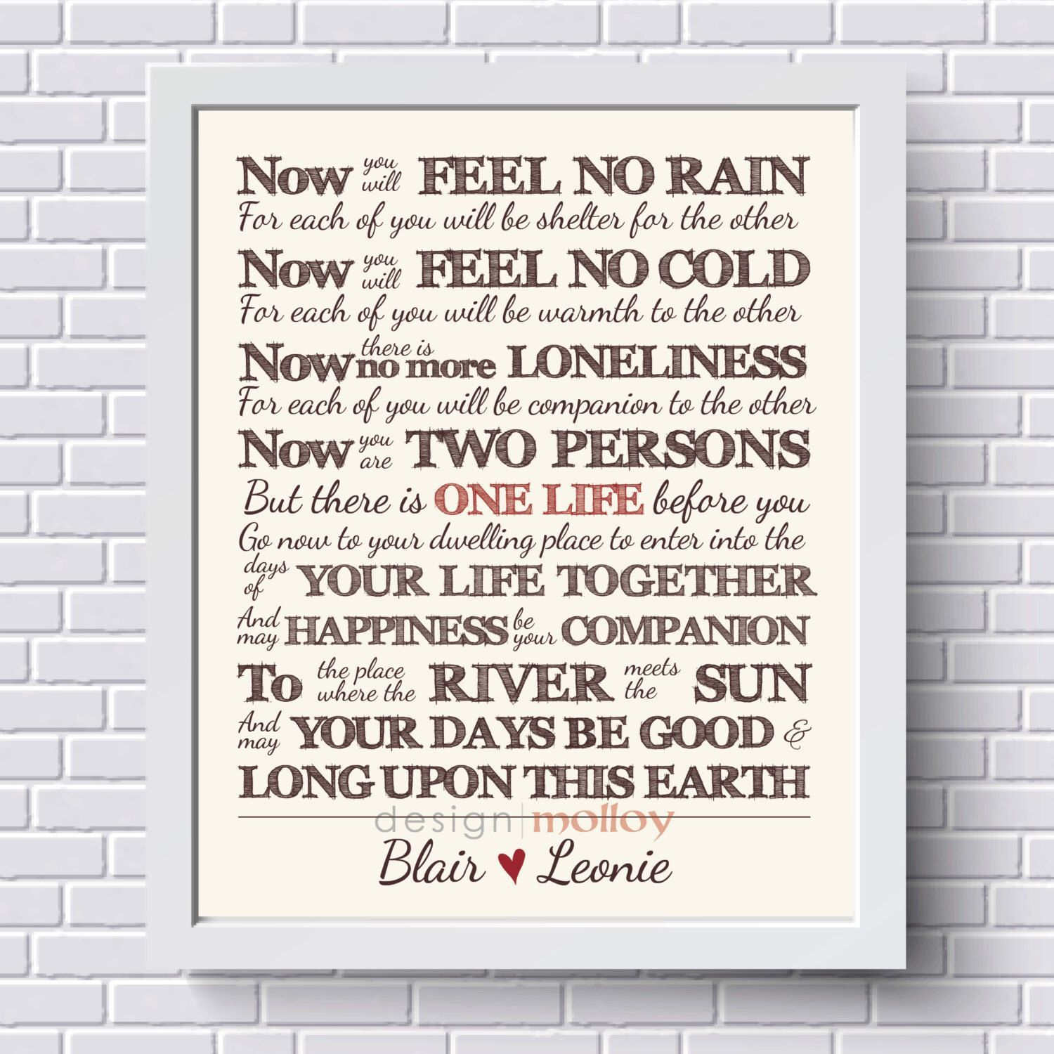 Customized Apache Wedding Blessing Print Gift Artwork For Bride And Groom