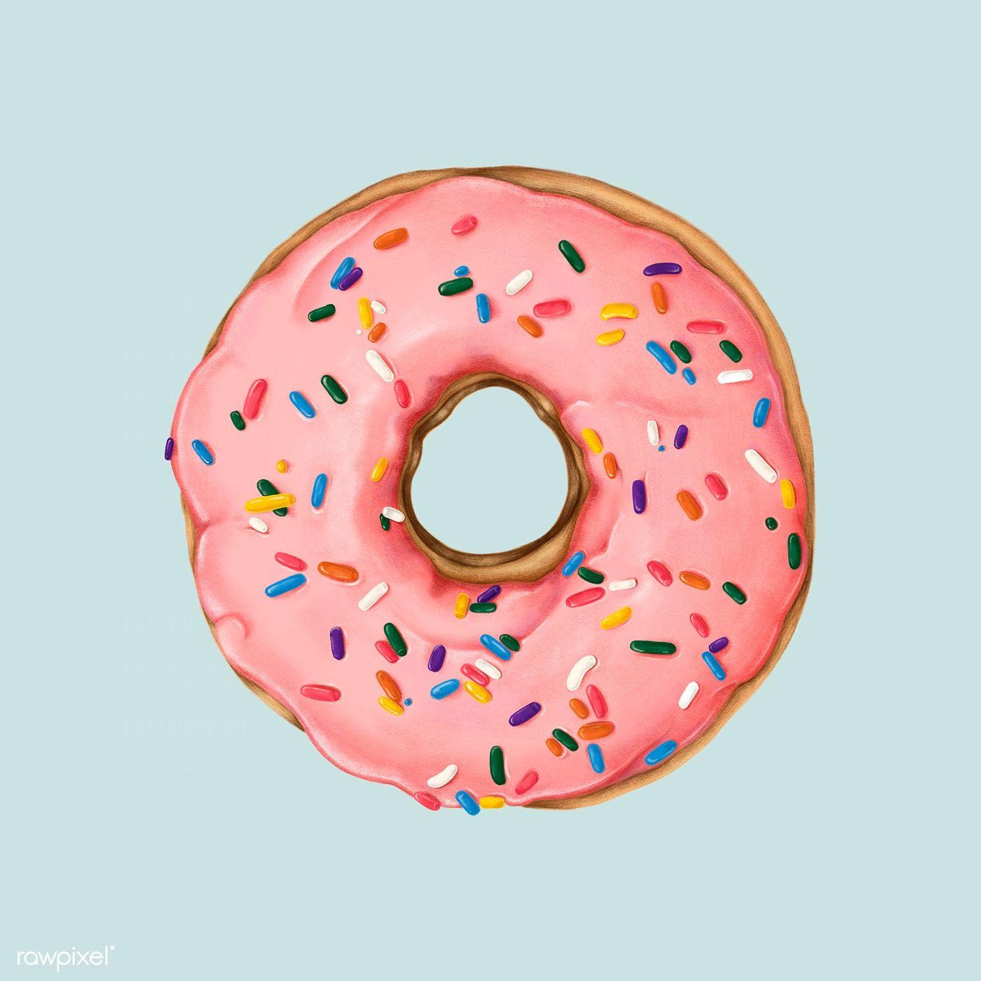 Hand drawn pink doughnut mockup free image by rawpixel