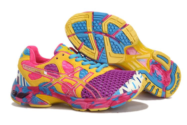 Asics Gel Noosa Tri 7 Womens Running Shoes Purple Yellow Chlorine Blue  Cherry Pink