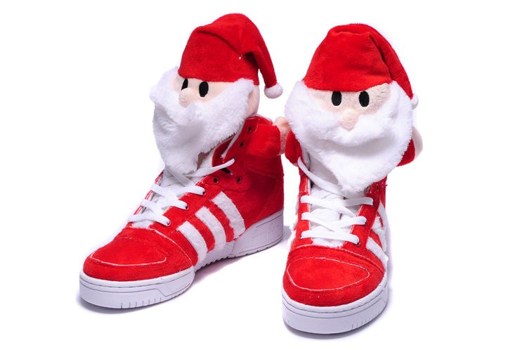Mens Hot Adidas Jeremy Scott Christmas Santa Claus High Tops Sneakers Nike USA TrainersBright