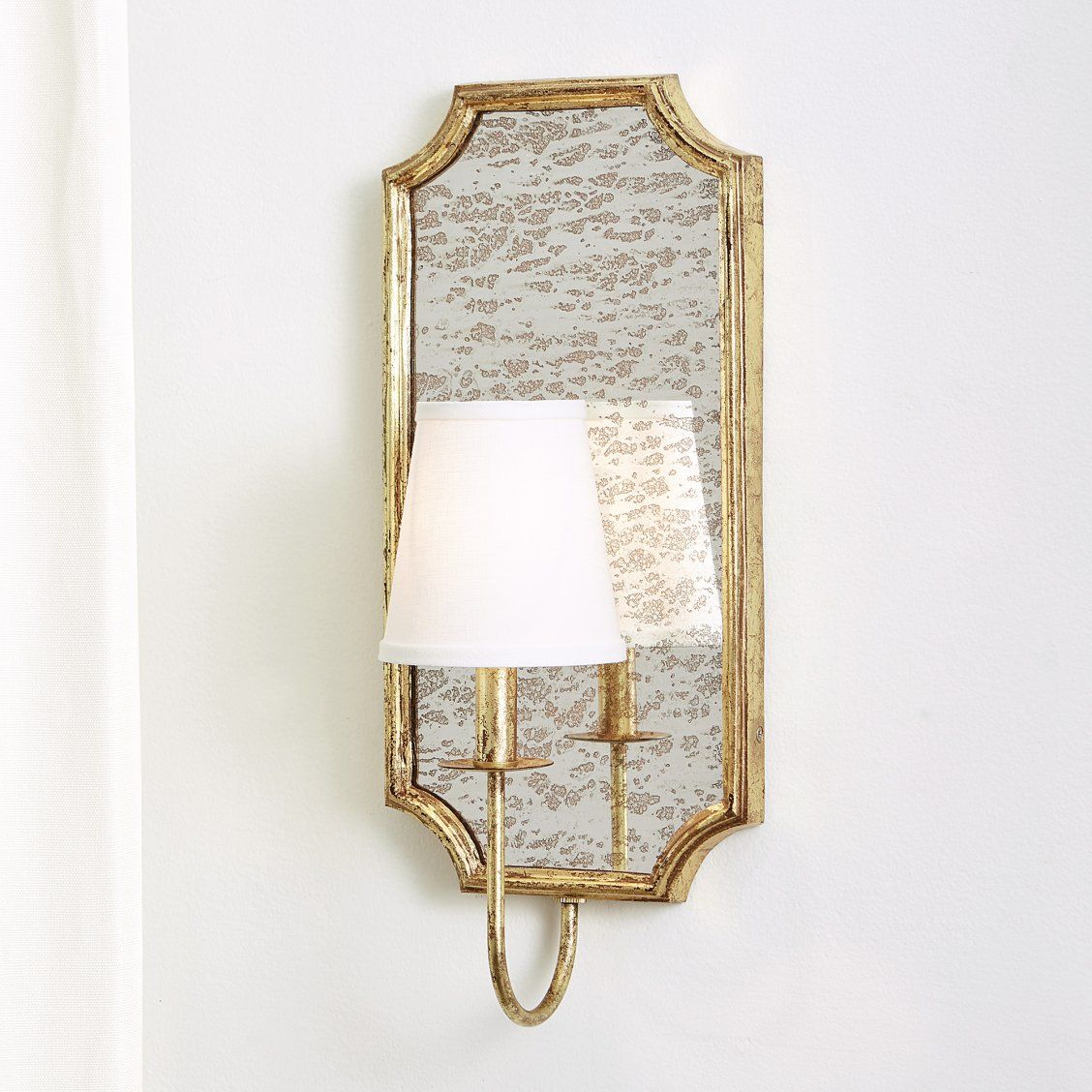 Cora Mirror Decorative Wall Sconce With Shade Decorative Wall Sconces Wall Sconces Antique Mirror