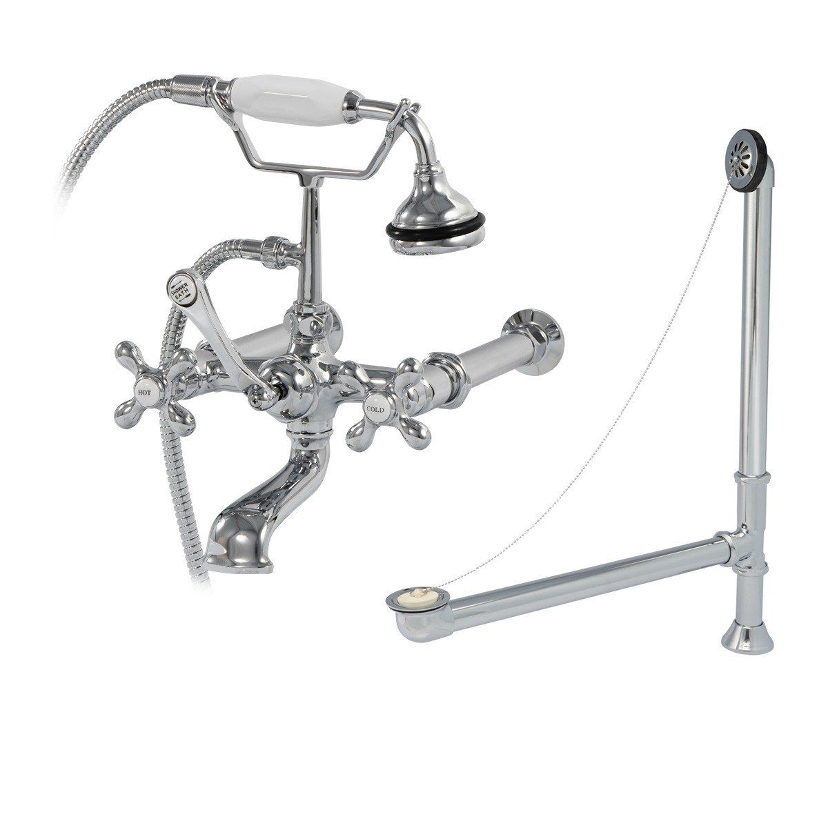Bathroom Wall Mount English Telephone Clawfoot Tub Faucet Complete