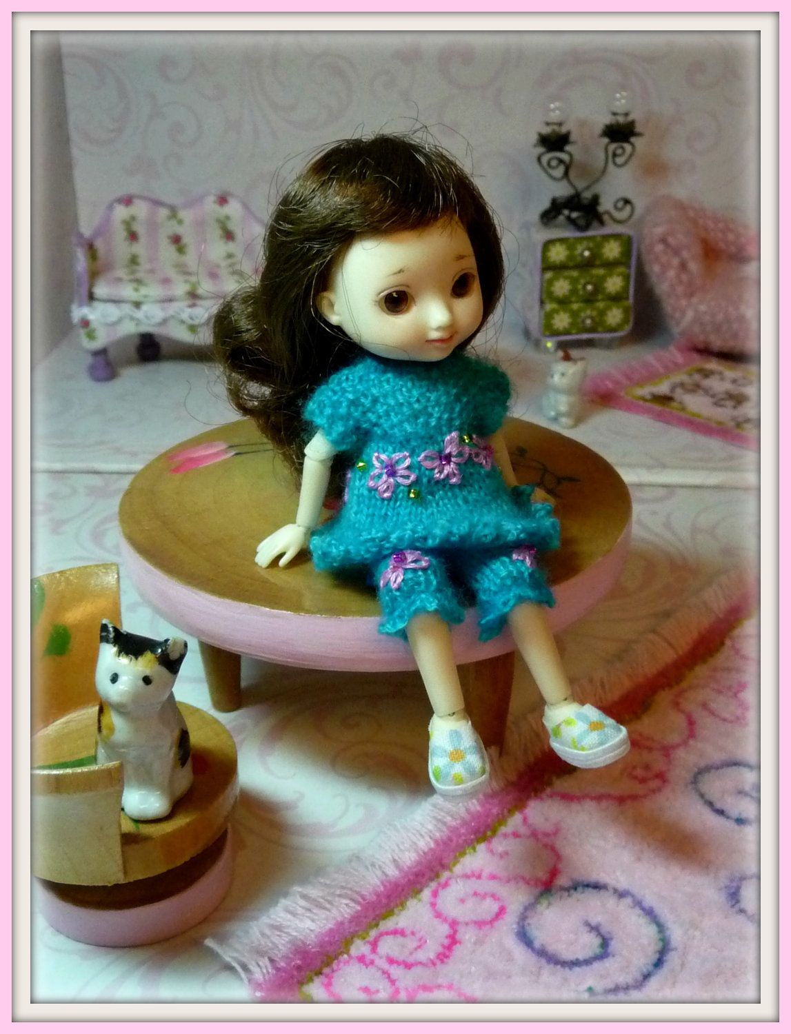 teeny tiny doll pastel multi color floral shoes for amelia thimble rh pinterest com