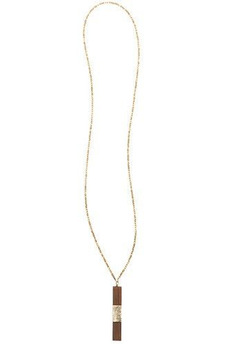 Neha Wood + Silver Leather Long Pendant Necklace