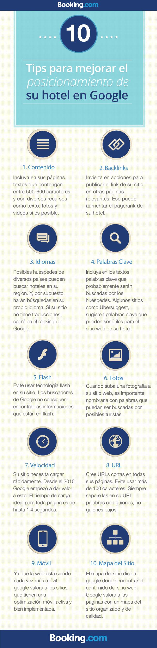 10 Tips para mejorar el posicionamiento SEO de tu hotel #Infografia #Infographic #SEO #Tourism by Booking.com