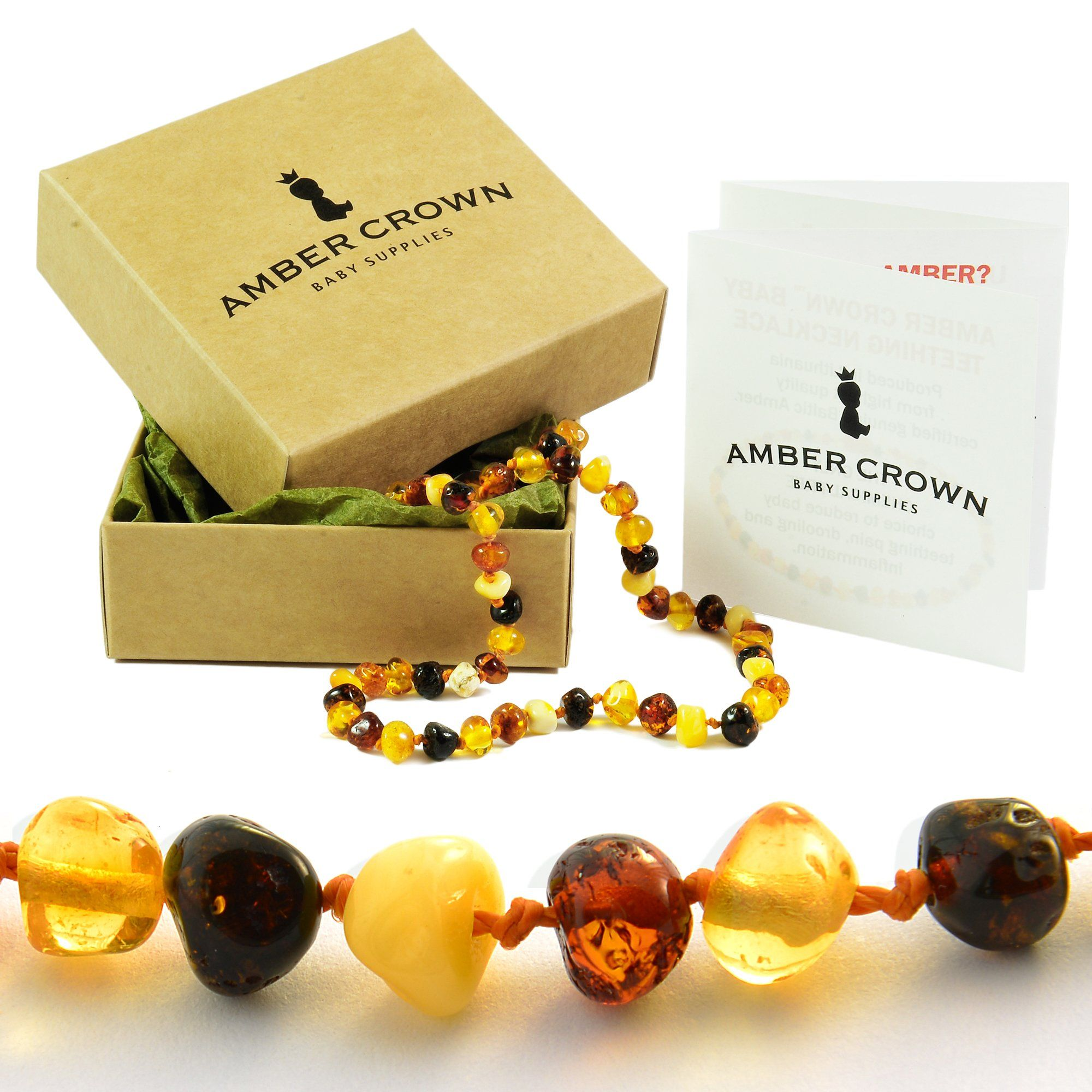 <3 www.ambercrown.com <3 #Multicolour #Amber #Teething #Necklace for #Babies - #Perfect #Baby #Shower #Gift!
