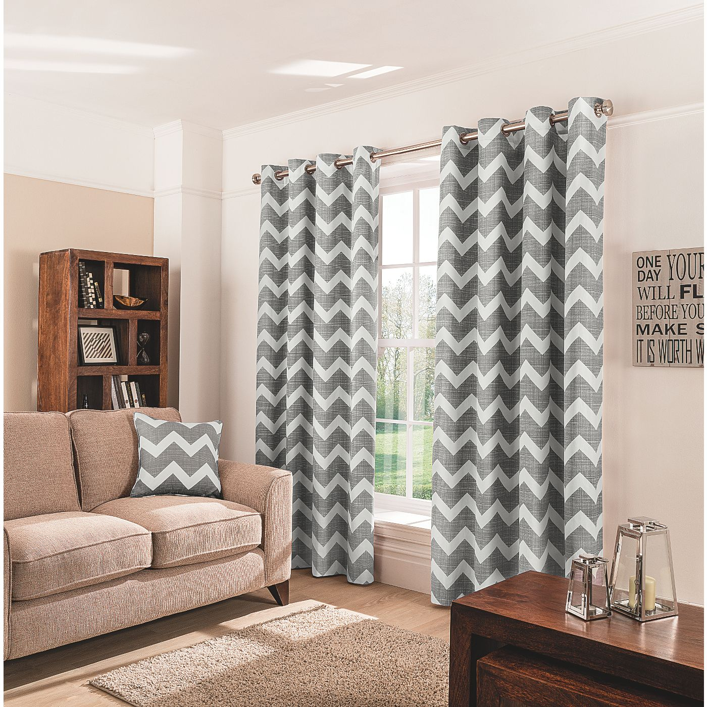 Amazing Charcoal Chevron Eyelet Curtains. Grey Chevron CurtainsGrey Living Room ...
