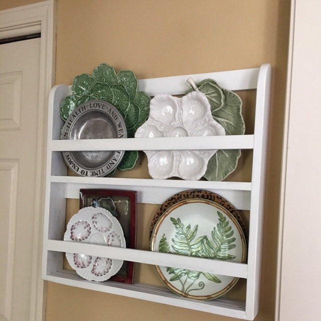 Plate shelf plate rack wall shelf vintage shelf handmade