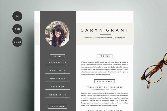 Resume Template 4 Pack CV Template by Refinery Resume Co on - resume cv template