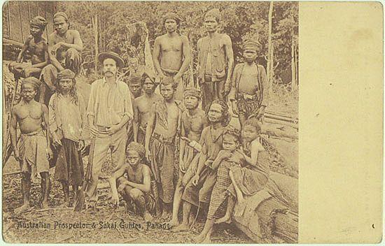 Old Malayan Postcard Australian Prospector Sakai Guides Pahang