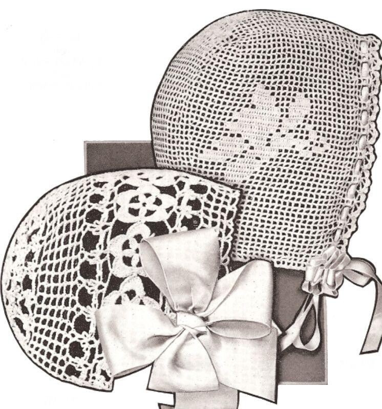 2 Vintage Irish Filet Baby Hat Bonnet Crochet Patterns | Nenas ...