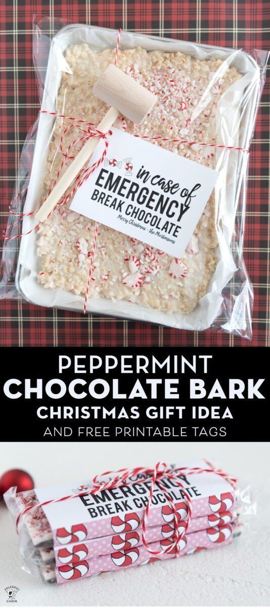 Peppermint Bark Christmas Gift Idea & Printable Tag | Polka Dot Chair