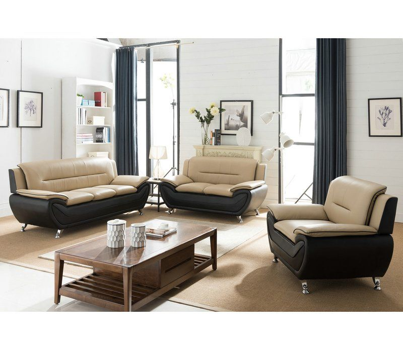 Giovani 3 Piece Living Room Set 3 Piece Living Room Set Modern Contemporary Living Room Beige Living Rooms