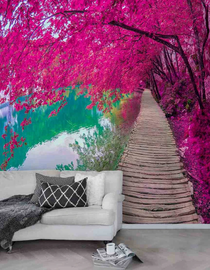 3D Wooden Walkway Forest Blossom River Wall Mural