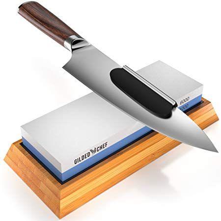 Gilded Chef Knife Sharpening Stone And Premium Whetstone Sharpener
