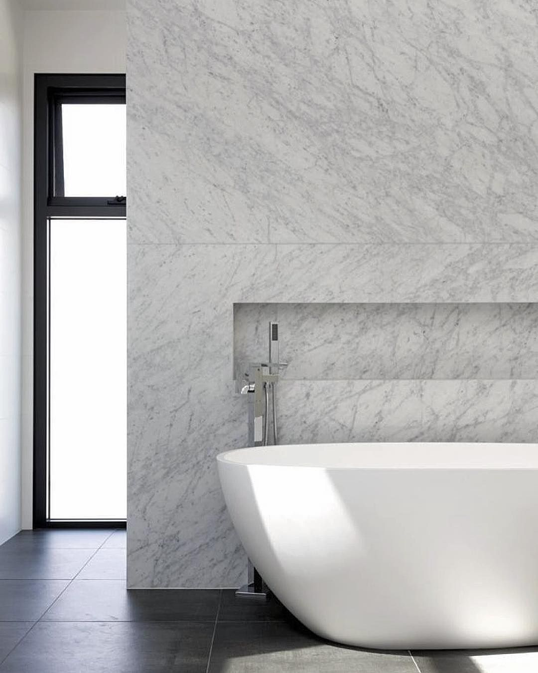 Nicreative On Instagram A Feature Wall Like This In Your Bathroom Step In Shower At The Back A Carrara Bathroom Marble Bathroom Carrara Marble Bathroom