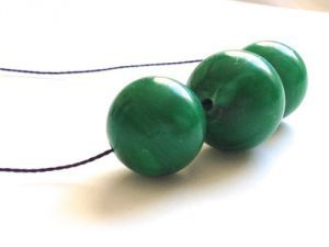 Green and Navy Necklace big green beads blue by LilahVintage.jpg