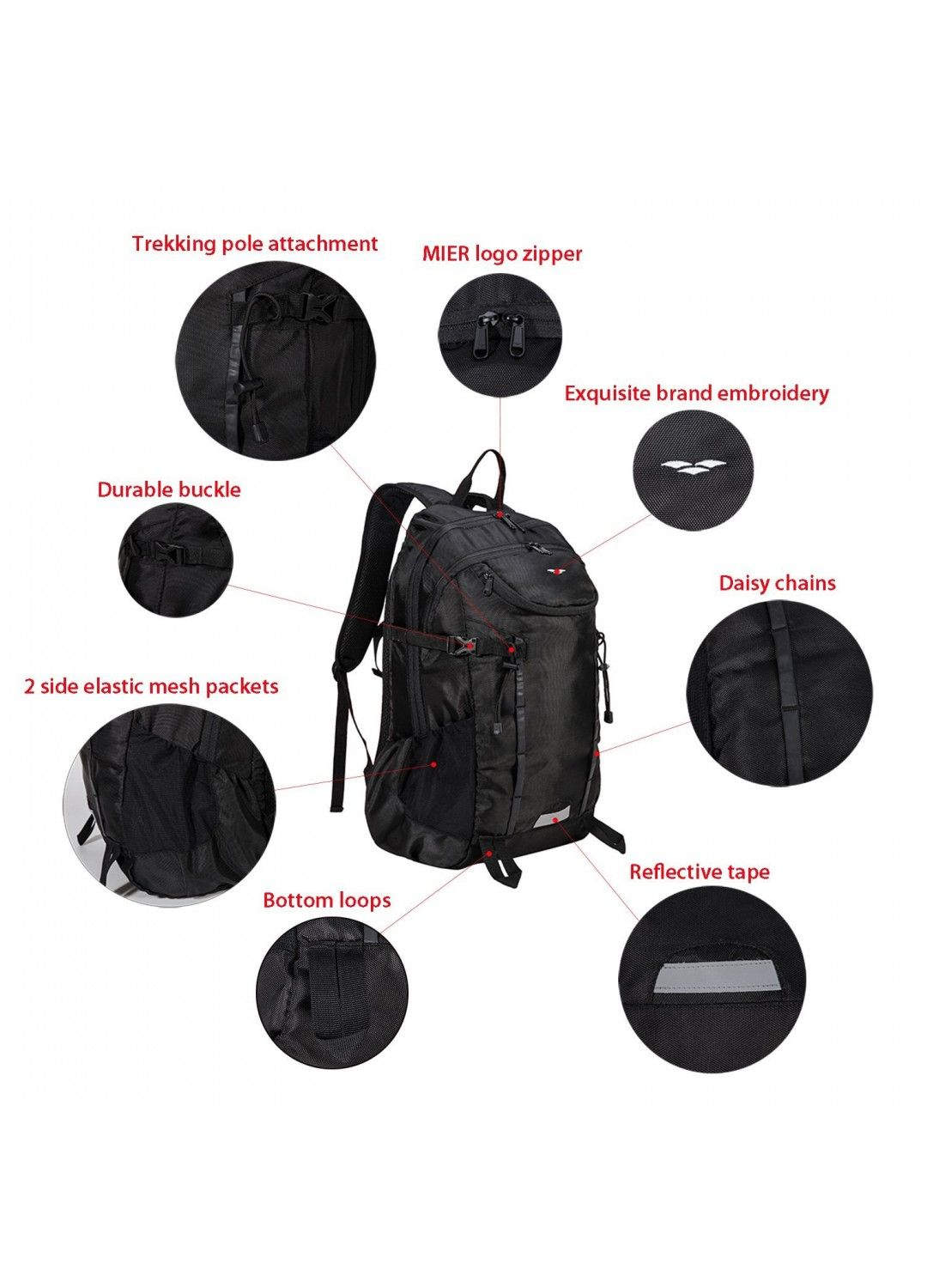 MIER 40L Hiking Backpack with Waterproof Rain Cover   Laptop Compartment  for Camping bbc0589634bc9
