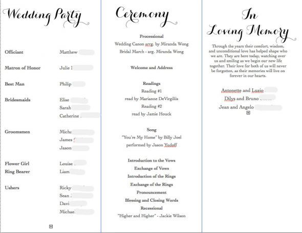 wedding program in loving memory - Google Search wedding - wedding agenda sample